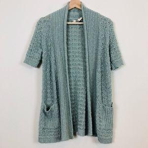 Anthropologie Moth Crochet Linen Blend Cardigan